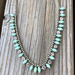 J Crew Aqua Crystal Delicate Necklace!